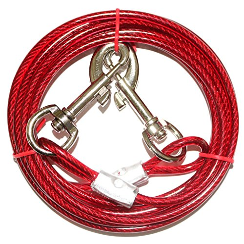 The Pet Supplies Tie Out Cable for Dog, Steel Wire Rope With Dual Heads Metal Hooks Outdoor Yard and Camping for Medium Large Pet Dogs,10ft by The Pet Supplies