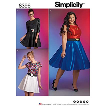 Amazon.com: Simplicity 8396 BB Plus Size Belted Skater Dress ...
