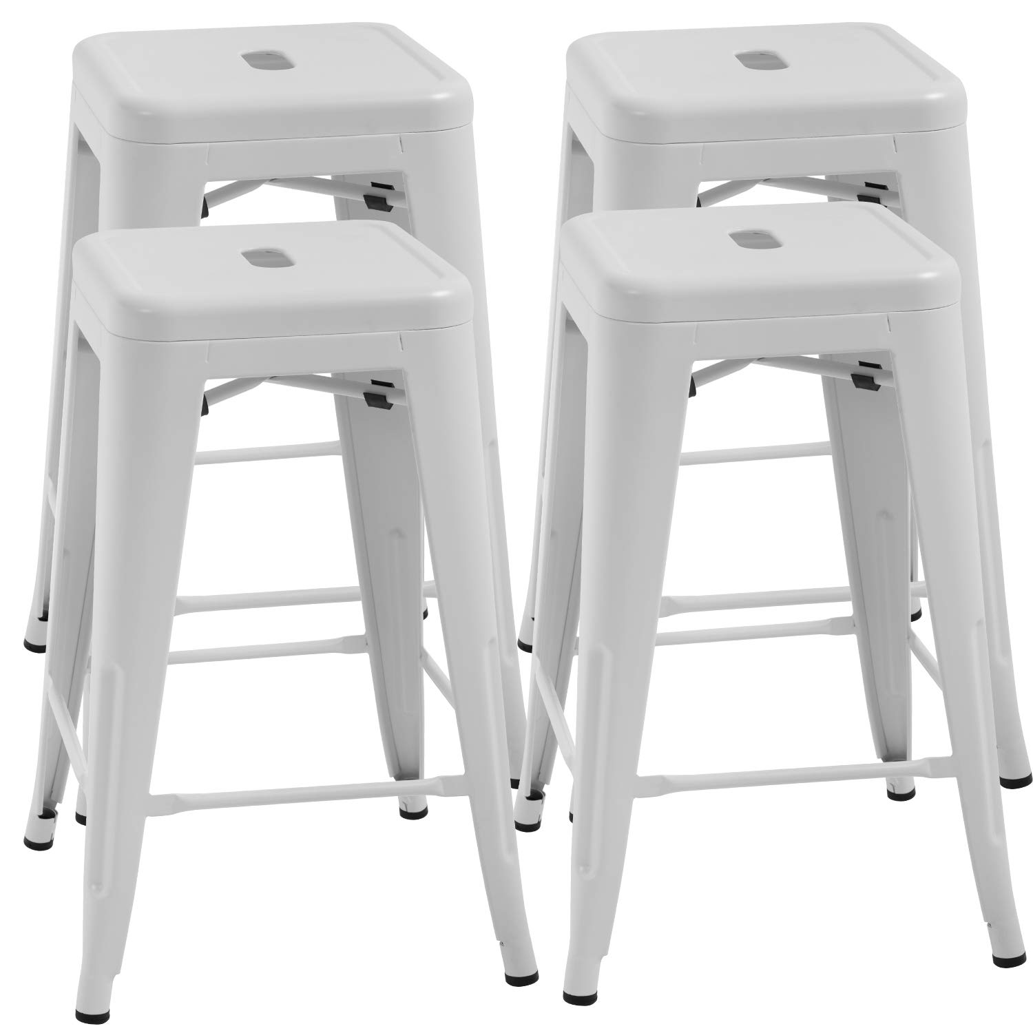 FDW Counter Height Bar Stools Set of 4 Metal Bar Stools 24 Inches Kitchen Counter Stool Industrial Metal Stool Patio Furniture Indoor/Outdoor Stool Moden Stackable Barstools Restaurant Dining Chairs by FDW