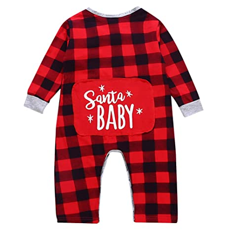 863bb37280 LQZ Toddler Infant Baby Boys Girls Christmas Santa Xmas Plaid Letter Print  Romper Jumpsuit Pajamas Outfits Gifts (12-24 Months)  Amazon.in  Baby