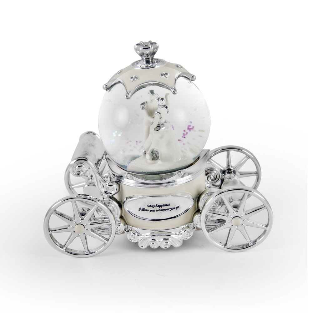 Romantic Pearl White, Ivory And Silver Fairy Tale Snow Globe Carriage - I Hope You Dance