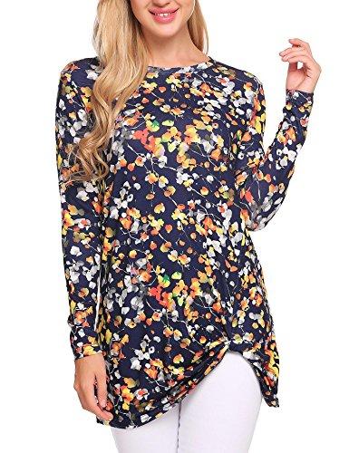 Zeagoo Women Comfort Long Sleeve Floral T-Shirt_Navy Blue_XXL