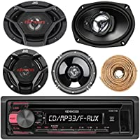 Kenwood KDC118 Car CD Player Receiver AUX Radio - Bundle Combo With 2x JVC 6x9 3-Way Vehicle Coaxial Speakers + 2x 6.5 Inch 2-Way Audio Speakers + Enrock 50 Ft 18G Speaker Wire