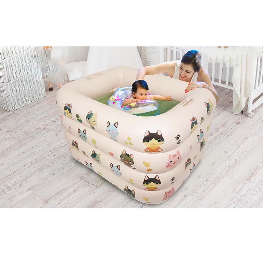 Baby Kids Bath Tub Inflatable Bathtub Portable,Folding Comfortable Bath, Massage Quality Tub Soaking Baths Inflatable Pools- Thick PVC 120×105×75Cm,C by Children's Bathtub