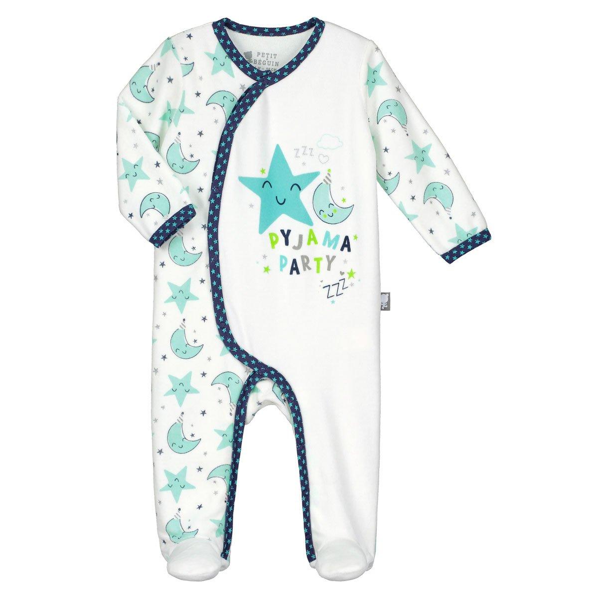 Pijama bebé terciopelo, color crema pijama Party–Talla–nacimiento (50cm) color crema pijama Party-Talla-nacimiento (50cm) Petit Béguin