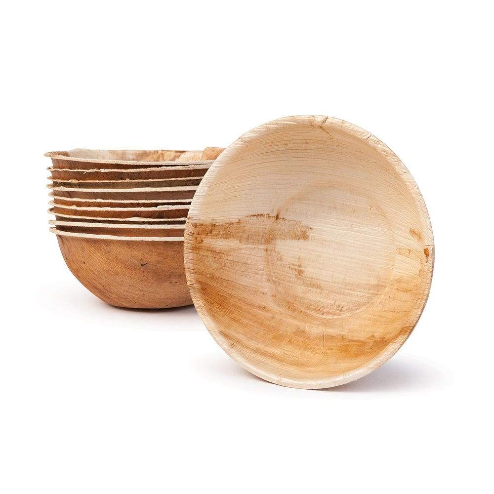 BIOZOYG DTW05509 Palm leaf snack bowl/soup bowl, 25 pieces, round, 425 ml, Ø15 cm, height 5 cm, compostable Bionatic