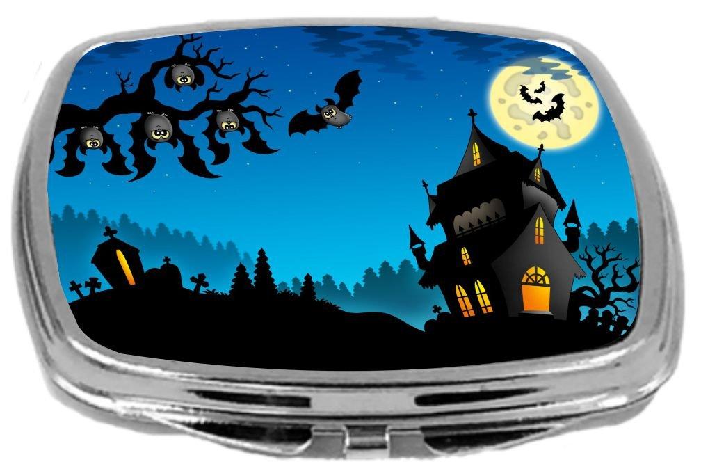 Rikki Knight Compact Mirror, Happy Halloween Haunted House Hanging Bats by Rikki Knight