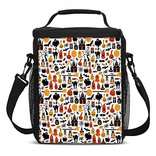 Halloween Fashionable Lunch Bag,Halloween Icons Collection Candies Owls Castles Ghosts October 31 Theme Decorative for Travel Picnic,One size ()