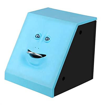 HSTYAIG Face Coin Bank Money Eating Coin Bank Battery Powered Monkey Saving Box (Blue): Toys & Games