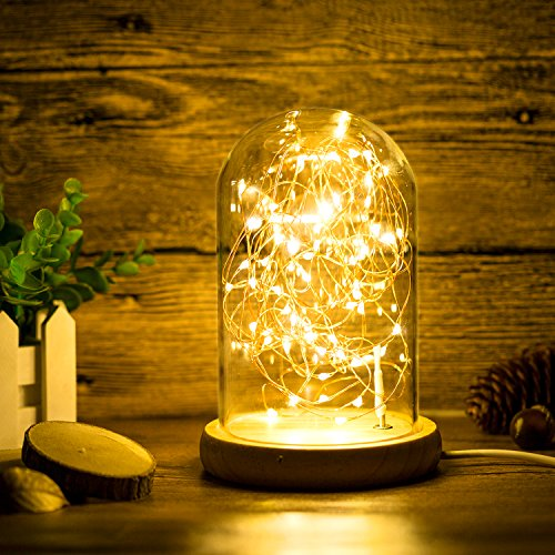 Erosom Glass Dome Lamp Bell Jar Display Dome Bamboo Base String USB LED Bedside Table Lamp with LED Warm Fairy Starry String Lights ideal for Decoration Anywhere.(Warm White) - Nightstand Light