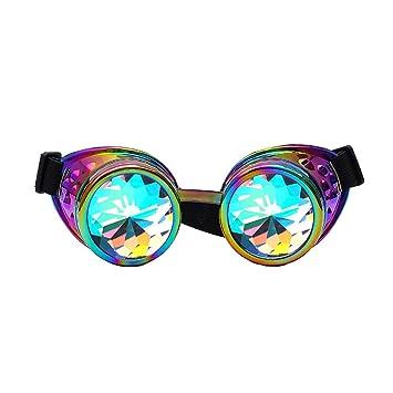 Familizo Lunettes de Coloré de Kaléidoscope, Lunettes de Soleil pour Festival Fête (Taille_unique, Multicolore)