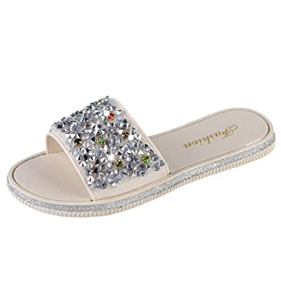 3e7c8023a1c02e Lolittas Diamante Glitter Bling Jewelled Flat Sandals Slipper for Women  Ladies Size 2-7