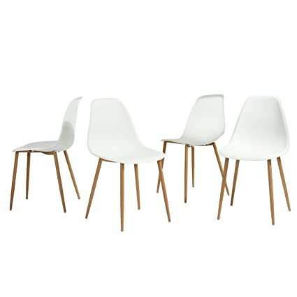 Beau GreenForest Dining Chairs Set Of 4, Eames Modern Style Metal U0026 Wood Legs  Kitchen Chair