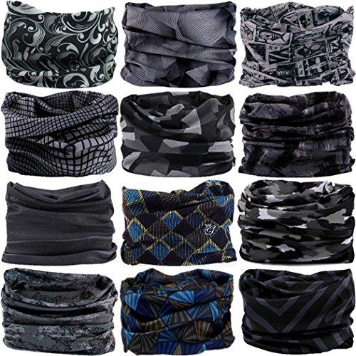 VANCROWN Headwear Head Wrap Sport Headband Sweatband 220 Patterns 12 in 1 Magic Scarf 12PCS & 6PCS 12 in 1 (12PCS.Gray)