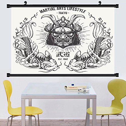 Gzhihine Wall Scroll Asian Traditional Japanese Samurai Mask Koi Fish Martial Arts Lifestyle Tokyo Typography Wall Hanging Coconut Grey 24