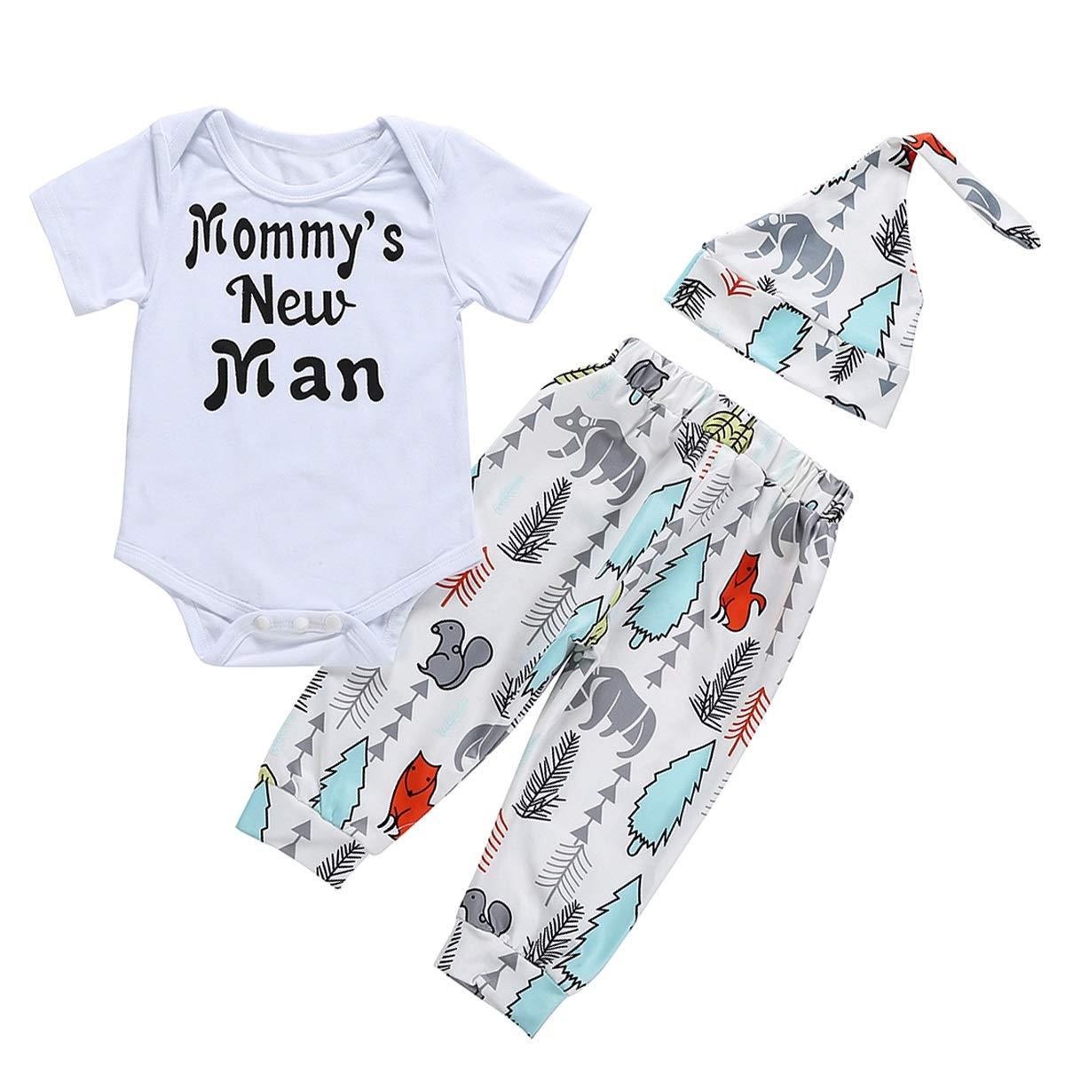 Hat Newborn Toddler Outfit Suit 3pcs//set Baby Boy Letter Print Romper Pants