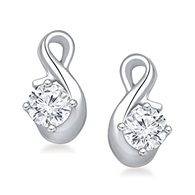 Meenaz Solitaire Diamond Earring Valentine Gifts Stylish Party Wear Silver  Studs Earrings For Womens And Girls