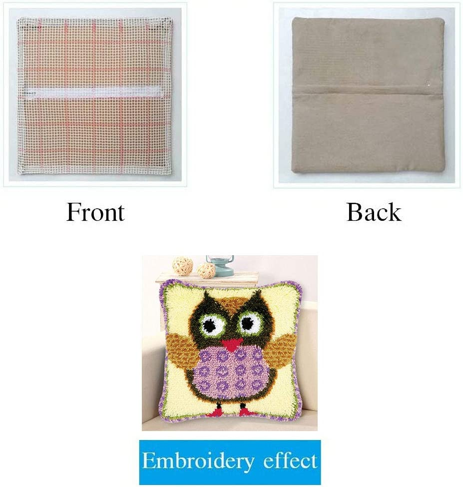 Meerkat MLADEN Latch Hook Kits for DIY Throw Pillow Cover Sofa Cushion Cover Embroidery Shaggy Decoration Family Gift and Activity 17 X 17