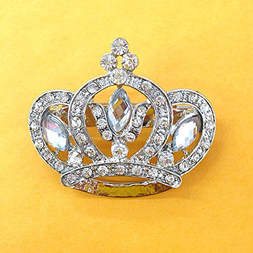 Vintage inspired crown pin / brooch 37mm x 43mm use for wedding bouquet . Bridal sash , embellishment , wedding favor