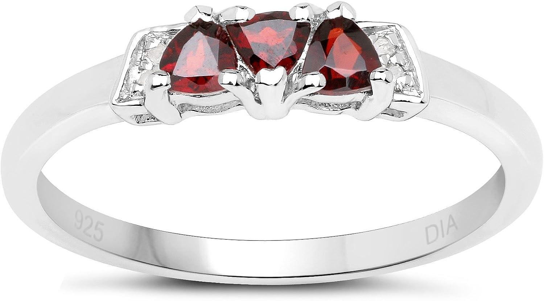 La Colección de Anillo Granate : Anillo de Plata de Granate y Diamantes, Anillo de compromiso Talla del anillo 6,8,9,10,11,12,13,15,16,17,19,20,21,22,24,25,26