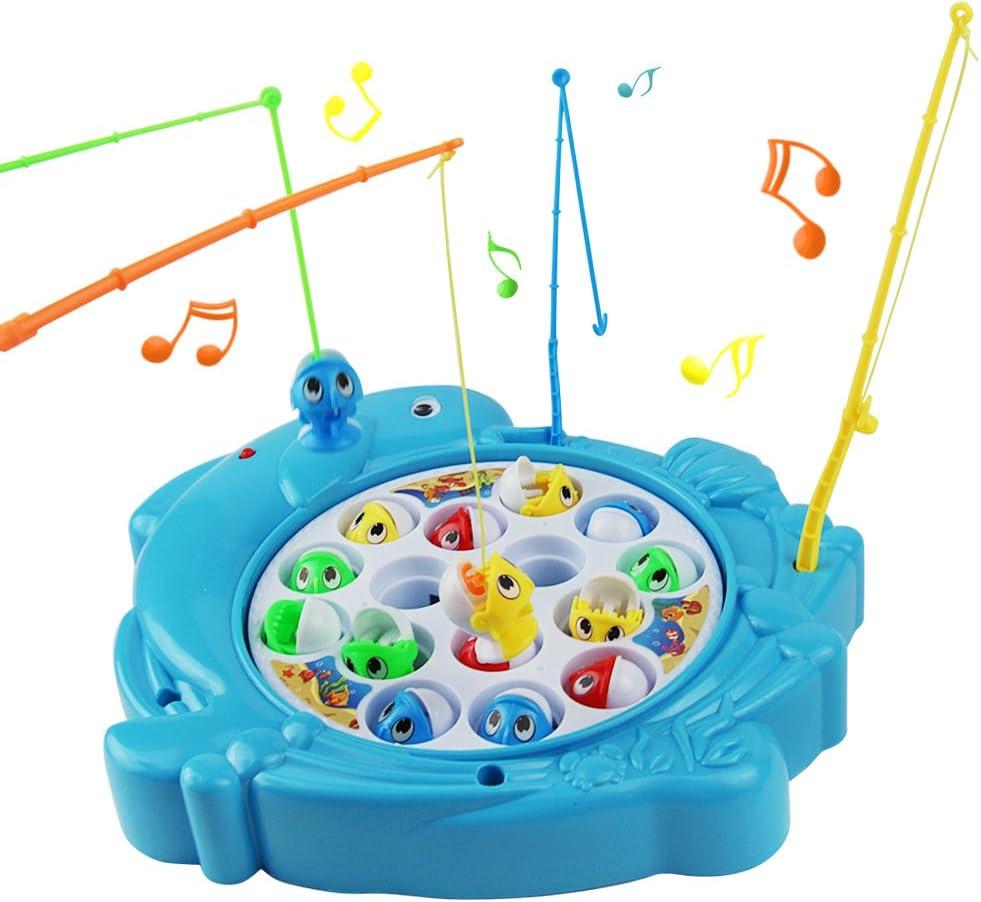 Juegos de Pesca Musical Juguetes de Pesca Rotación de Juguete Pescar Peces Juegos Educativos para Niños 3 4 5 Años(Forma de Delfín): Amazon.es: Juguetes y juegos