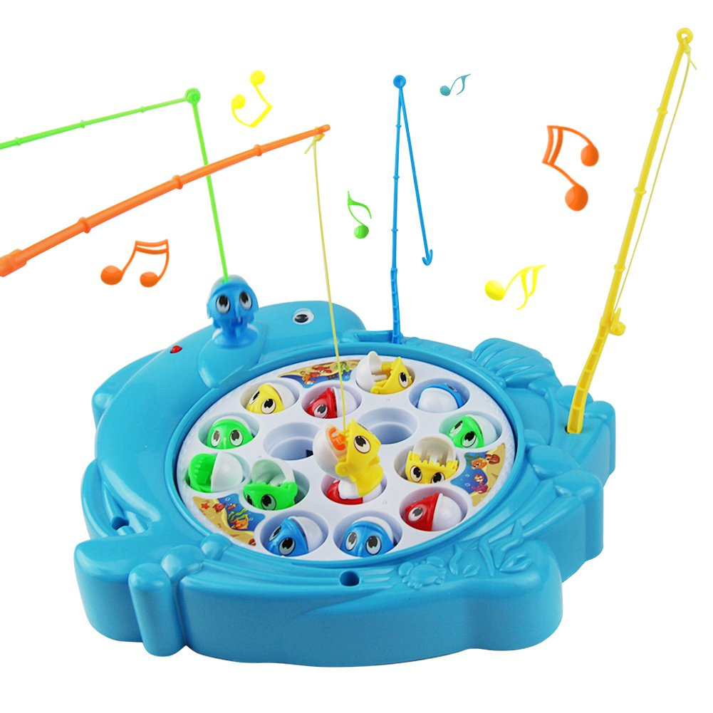 Nuheby Fish Game Fishing Toys Musical Board Game Kids Fish Toy Gift with 6 Fishing Rods for Boys Girls 3 4 5 Years Old,Blue (Type 1) YXING .