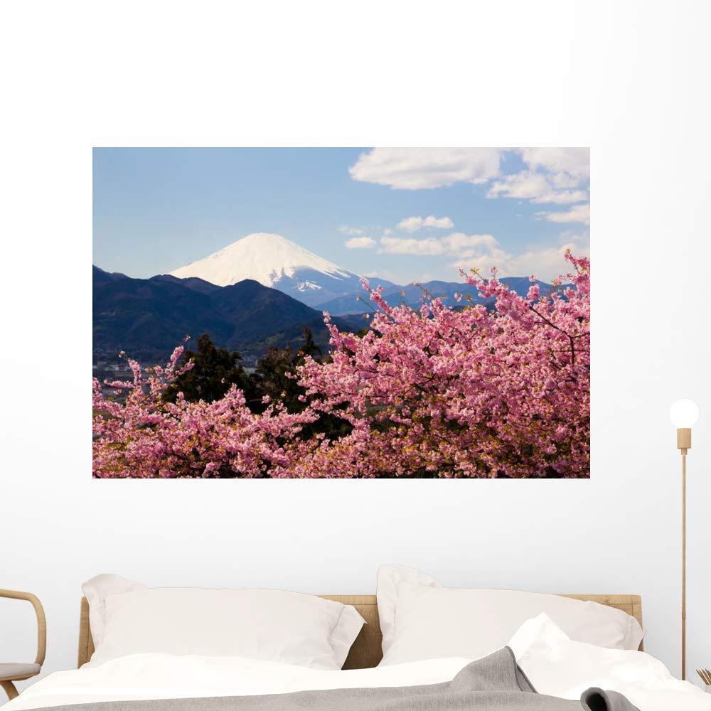 Wallmonkeys Mount Fuji with Kawazu Wall Mural Peel and Stick Vinyl Graphic (48 in W x 32 in H) WM525582