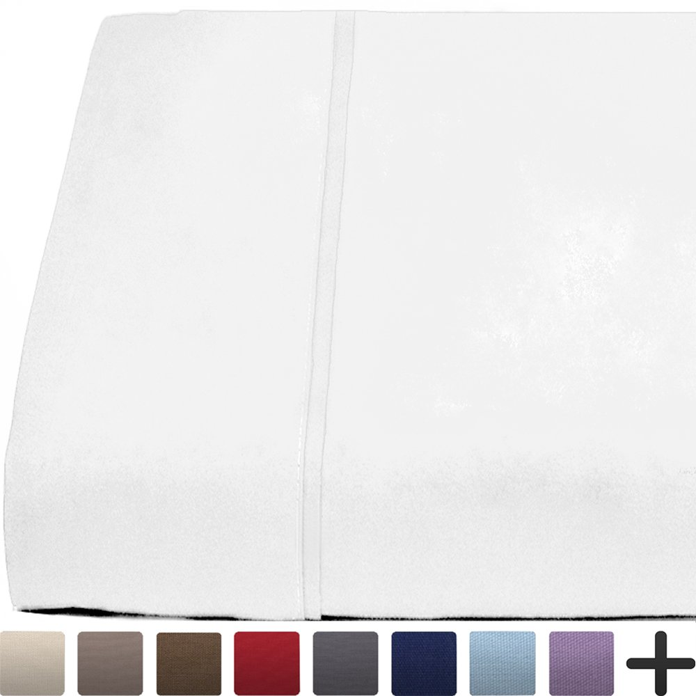 Flat Top Sheet Premium 1800 Ultra-Soft Microfiber Collection - Double Brushed, Hypoallergenic, Wrinkle Resistant, Easy Care (King - 1 Pack, White)