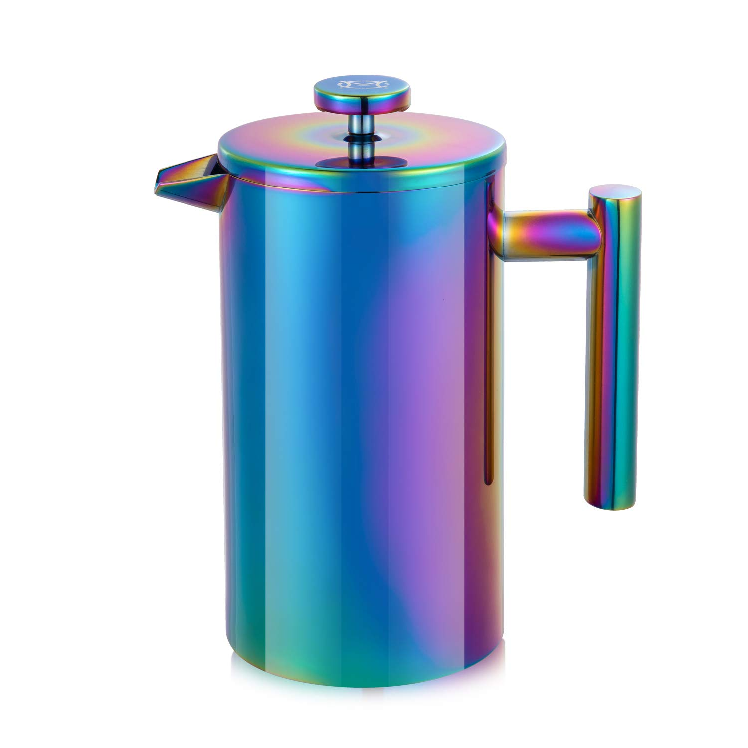 Magicaf French Press Coffee Maker Stainless Steel Coffee Maker Double Walled French Press Rainbow 34oz 1L