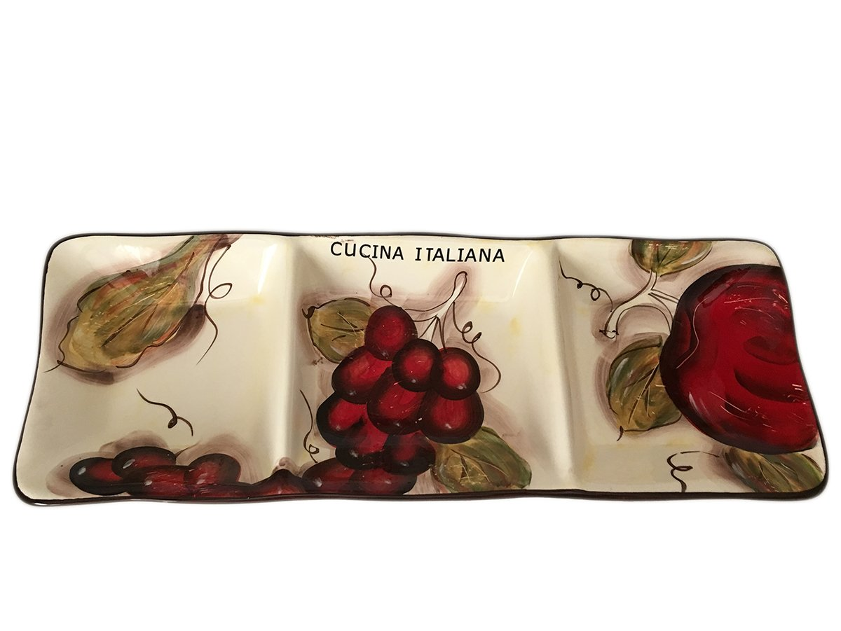 Classic Cucina Italiana Ceramic 3 Section Fruit Design Serving Plate 18'' by BohemianGifts (Image #3)
