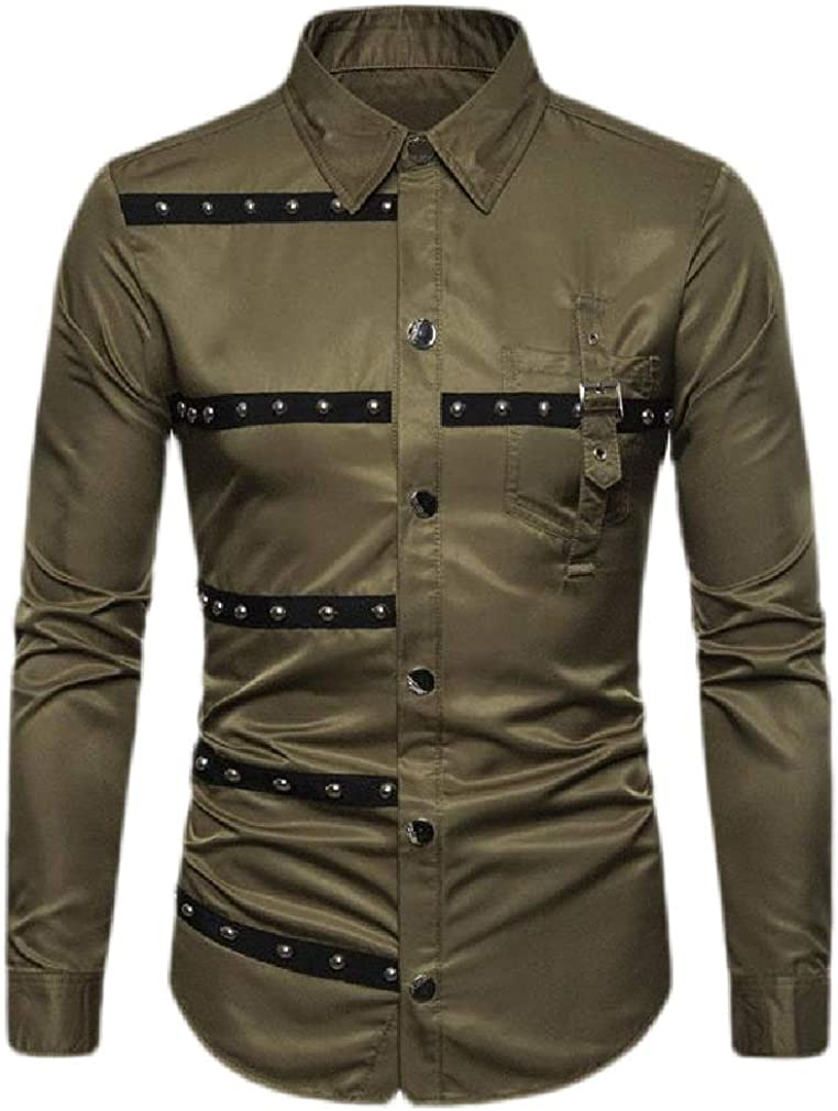 Hajotrawa Mens Rivet Button Front Patchwork Long Sleeve Loose Gothic Shirts