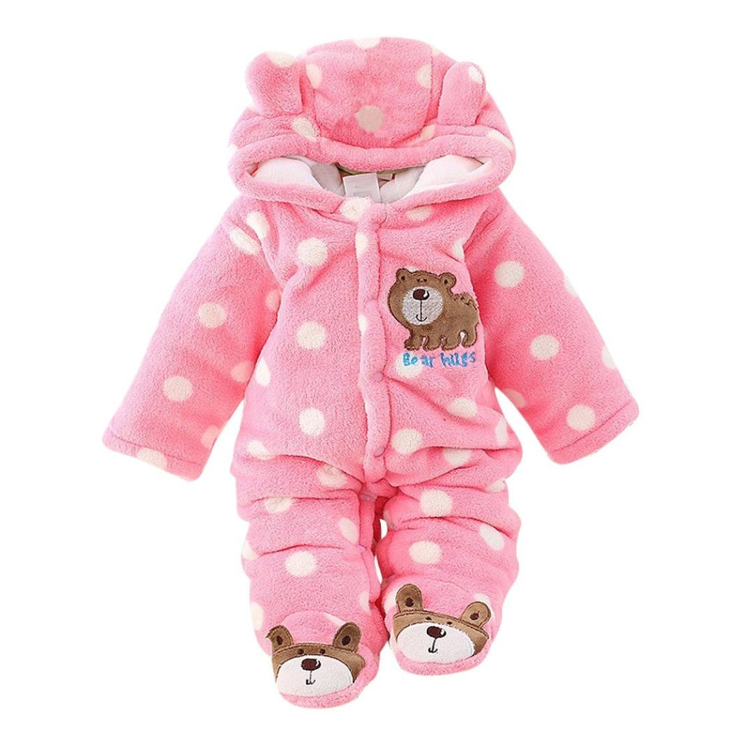 Winsummer Newborn Baby Girl Boy Winter Thick Warm Cartoon Animal Hoodies Bodysuits Footies Clothes (9-12M, Pink)
