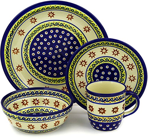 Polish Pottery 4-Piece Place Setting WAWEL (Sun And Sea Theme) + Certificate of Authenticity (Pottery Place)