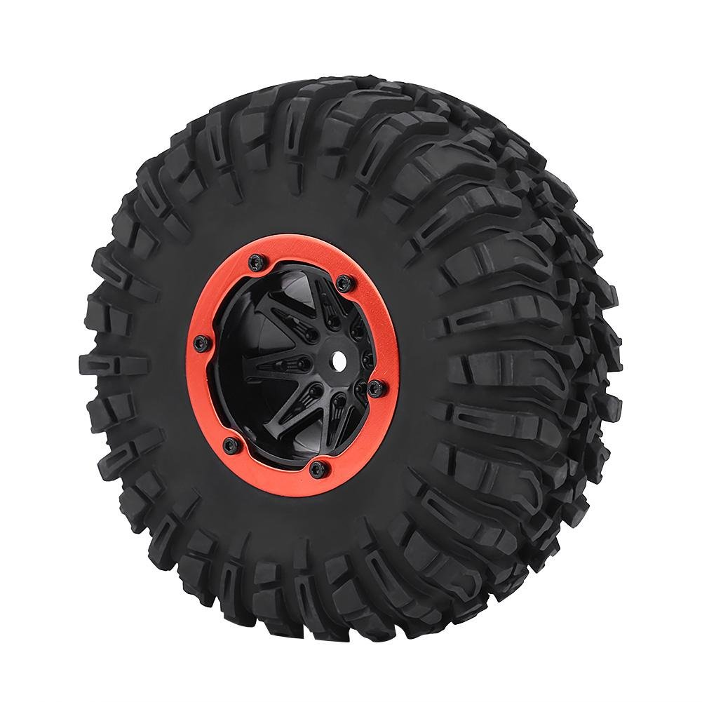 Dilwe 1/10 RC Car Tyre, RC Off Road Tires RC Crawler Car Wheel & Blue Hubs for 1/10 RC Off-road Car Crawler Truck