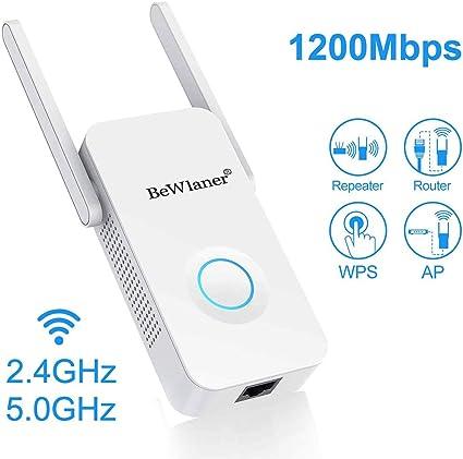 Amplificateur WiFi Compatible avec Toutes Les Box Internet AC1200 Mbps R/ép/éteur WiFi Double Bande 5G et 2.4G WiFi Extender Avoir AP//R/ép/éteur//Routeur//Client Mode et WPS Fonction