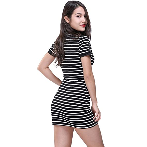 e0b0ef2545 E-Scenery Women Dress And Skirt Women's Fitted Bodycon Short Sleeve O Neck  Striped Evening