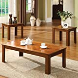 Furniture of America Gibbs 3-Piece Bold Legged Accent Table Set Oak Oak Finish