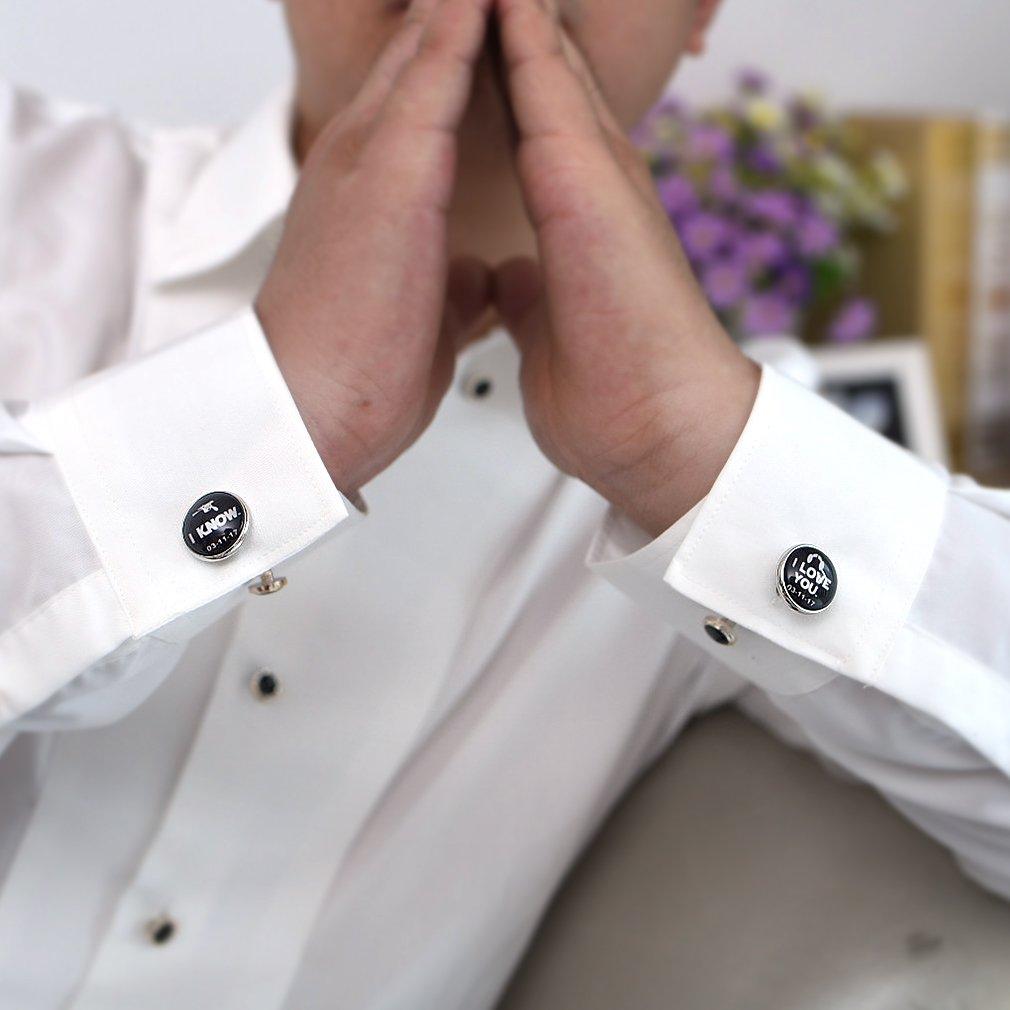 ZUNON I Love You Cufflinks I Know Wedding Anniversary Groom Mens Jewelry Wedding Cufflinks (White) by ZUNON (Image #5)