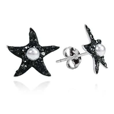 b3a9067a7 Black Cubic Zirconia Starfish Faux Pearl Centered .925 Sterling Silver Stud  Earrings