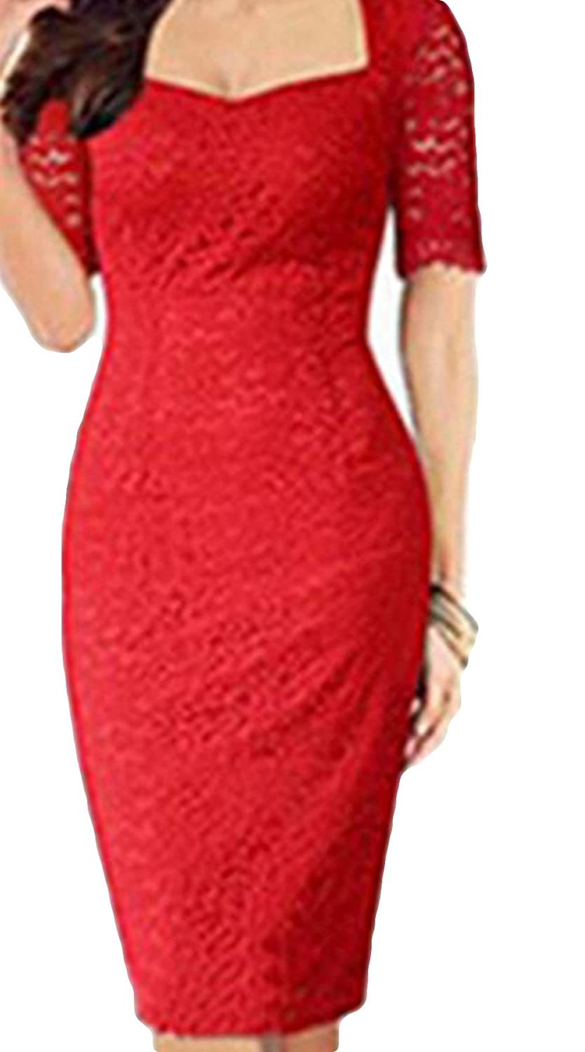 Greenis Women Dress Lace Bodycon Short Sleeves Plus Size