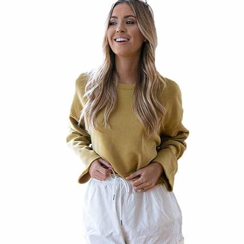 Yannerr mujer suelta casual Manga larga blusa suéter Jersey Tops capa