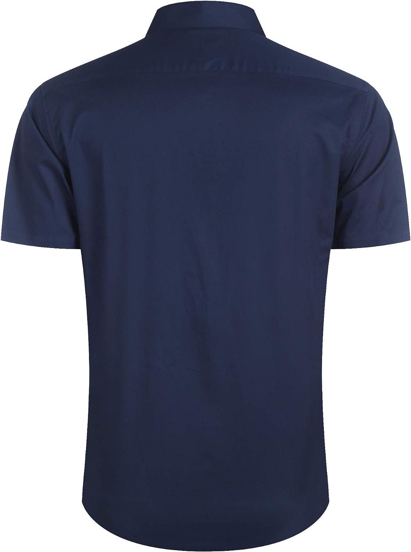 Burlady Herren Hemd Kurzarm Slim Fit Freizeit Einfarbig Kentkragen B/ügelleicht Hemden Sommer Men/´s Shirt
