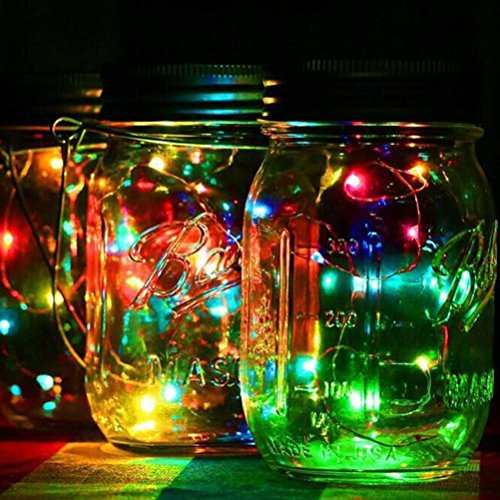 Solar Mason Jar Lid Insert,LEDMOMO 6.6ft 20 LED Solar Powered LED Mason Jars Light Up Lid(Green Light)]()