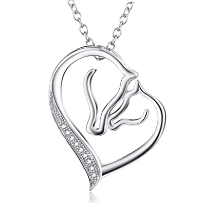 Eternal love 925 sterling silver horse pendant cz necklace jewellery eternal love 925 sterling silver horse pendant cz necklace jewellery for women girls aloadofball Gallery