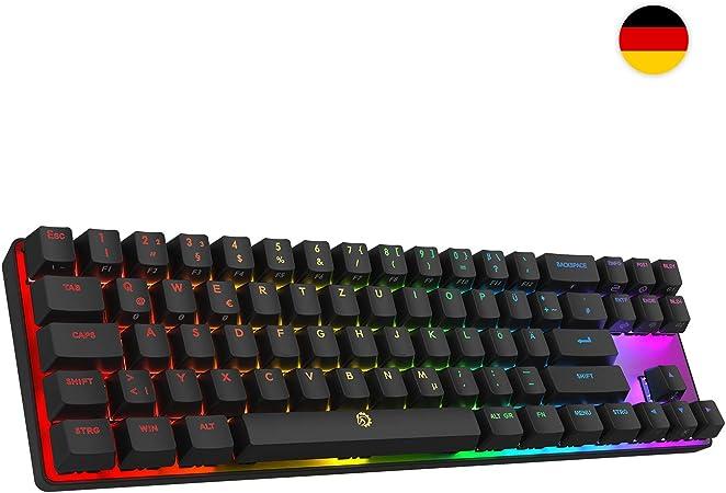 DREVO Calibur 72 clave de juego mecánico teclado RGB LED retroiluminada Tenkeyless inalámbrico Bluetooth 4.0 - deutsche layout (Switch Azul, Negro)