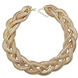 QQ Fashion Vintage Gold Egyptian Cleopatra Style Bold Snake Braided Chain Statement Bib Necklace,19.7""