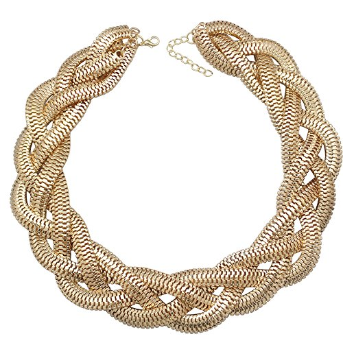 QQ Fashion Vintage Gold Egyptian Cleopatra Style Bold Snake Braided Chain Statement Bib Necklace,19.7-Inch