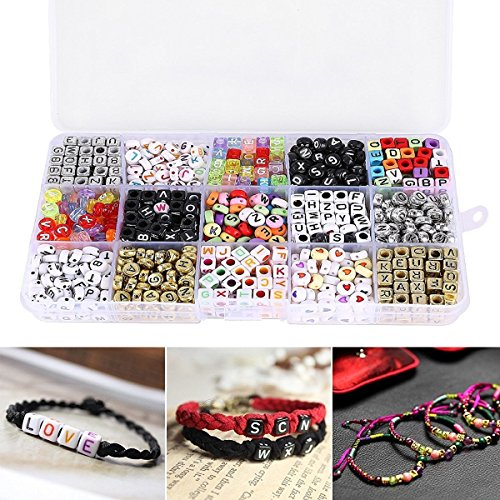 "Magnolian 1100pcs Mixed Acrylic Plastic Alphabet Beads,Assorted Color Alphabet Letter ""A-Z"" Cube Beads for DIY Bracelets, Necklaces, Key Chains and Kid Jewelry"