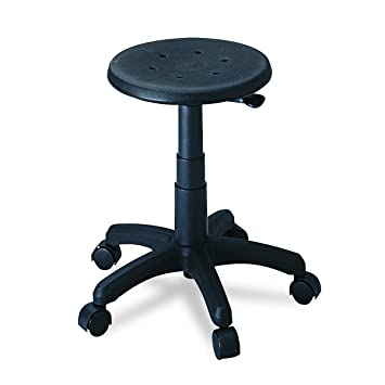 Lovely Adjustable Office Stool With Casters   Black