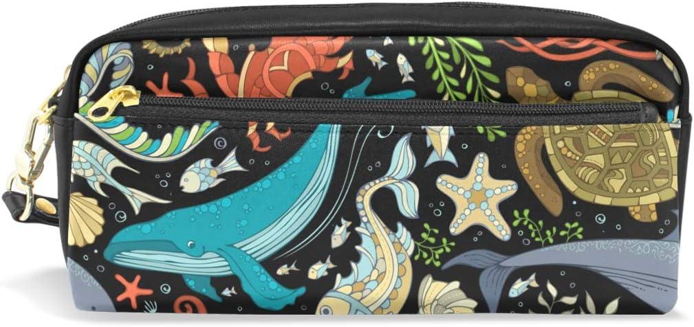Ocean Marine Animals - Estuche de lápices de colores para niños y niños, bolsa de piel grande con cremallera para la escuela, estudiante, cosméticos, maquillaje: Amazon.es: Oficina y papelería